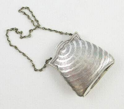 Vintage Art Deco Silver Plated Purse Shaped Pill or Change Holder