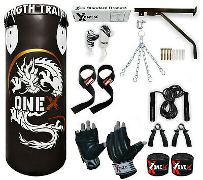 OneX 15 Piece Boxing Set 3ft Filled Heavy Punch Bag Gloves,Chains,Bracket,Kick.