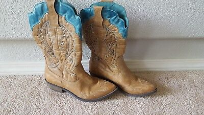5b706918662 COCONUTS BY MATISSE Cimmaron Cowboy Boots Sz 7 Western Brown Teal Mid-calf