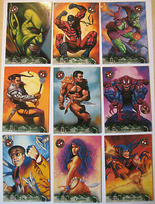 1996 Fleer Spiderman Premium R.I.P. Set of 9 Trading Cards Marvel