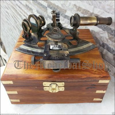 Nautical Marine Sextant & Wooden Box Brass Collectible German Astrolabe Sextant