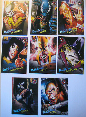 1996 Fleer Spiderman Premium Asylum Set of 8 Trading Cards Marvel Venom Goblin