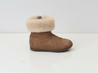 Brown Real Leather UGG Sheepskin Boots Zip Infant Girls Boys Size UK7 EU25