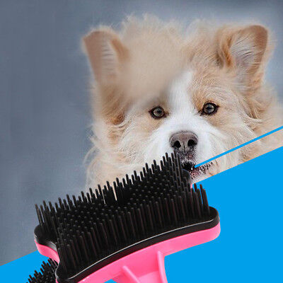 Pet Dog Cat Grooming Self Cleaning Slicker Brush Comb Hair Shedding Too HQ