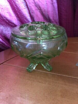 Art Glass Davidson Antique Cloud Glass Vase Complete With Frog We Take Customers As Our Gods Bagley/sowerby/davidson