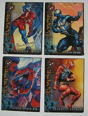 1996 Fleer Spiderman Premium Arachnophilia Set of 4 Trading Cards Marvel Scarlet