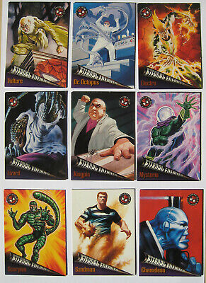 1996 Fleer Spiderman Premium Eternal Enemies Set of 10 Trading Cards Marvel
