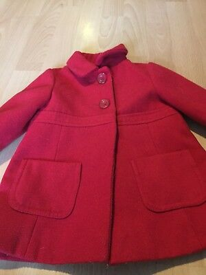 Baby Girls Mothercare Red Coat Christmas Winter 6/9 Months