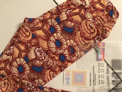 41a89b35ad6349 Lularoe Os Nwt Amazing Donuts Bagels & Pastries Leggings Deep Reds Blue  White