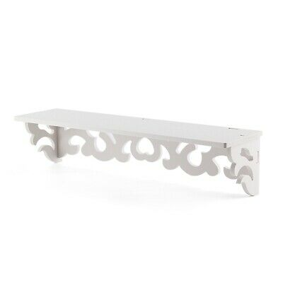 2X(Set of 2 White Shabby Chic Filigree Style Shelves Cut Out Design Wall Shel 2P