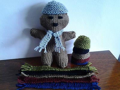 """Hand Knitted Cap/Hat/Beanie  And 7"""" Scarf Winter Colours For Your  Teddy Bear."""