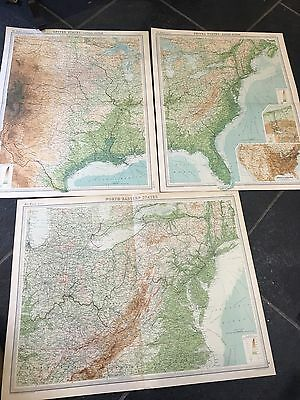 3 VINTAGE c1920 Times Atlas maps of USA - EASTERN & CENTRAL SECTIONS, NE States