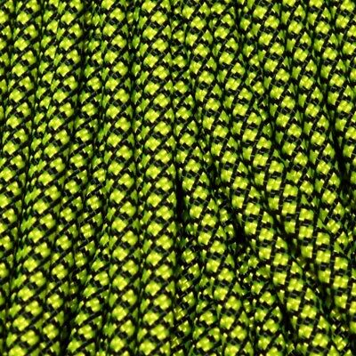 550 Paracord Diamonds Black with Neon Yellow 100 ft Made in USA 163-248