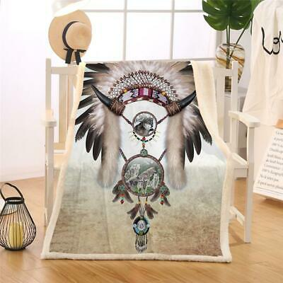 Dreamcatcher Cow Skull Feathers Roses Native American Fleece Sherpa