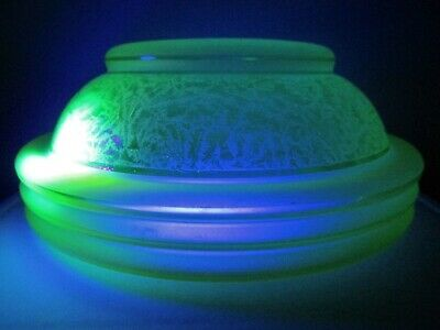 Antique Bohemian ART DECO Uranium Glass LAMP SHADE 1930's