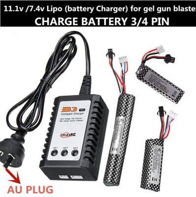 11.1v /7.4v Lipo battery B3 Balance charger Gel Ball Gun Blaster Jinming Upgrade