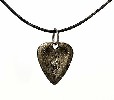 Dark Grey Metal Guitar Pick Necklace With Treble Clef Leather Thong Gift Idea