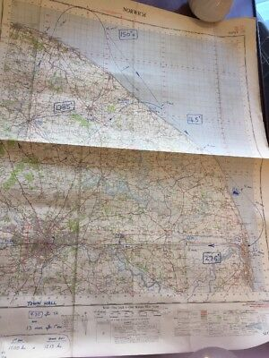 Vintage Ordnance Survey Of Great Britain Map Norwich With Blue Pen Notes