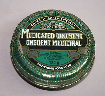 Vintage Watkins Medicated Ointment Tin/Can Calmant 124 G. Watkins Incor. Wpg. Mb