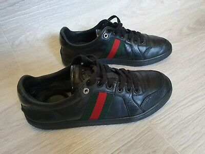 16adca62e05 Authentic Gucci Women sneakers shoes web strip Leather Black Size 37.5 US 8