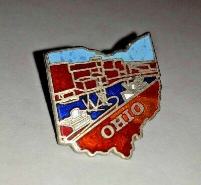 Vintage State of Ohio Souvenir Lapel Pin Ships Shipping Docks Erie Canal