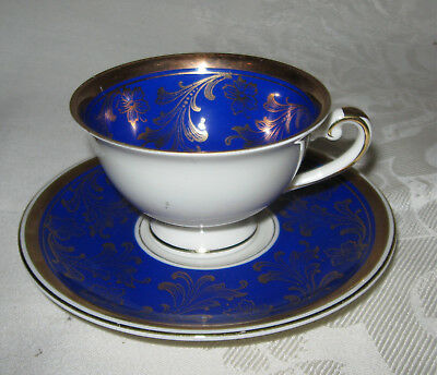Alka Cobalt Footed Demitasse Cup and Saucer, with Gold Trim, Bavaria 637 75