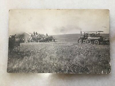 Case Steam Tractor Thrasher RPPC Real Photo Post Card 1910 Collinsville, Texas