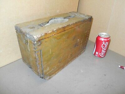 Antique -US Military Wood Ammo Dovetail Crate Box WWI WWII Stenciled Bullet