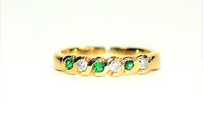Brilliant .21tcw Untreated Colombian Emerald & Diamond 14kt Yellow Gold Ring