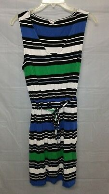 19cf5cf194 Merona Black Green and Blue Knit Striped Tank Dress V-Neck Belted XL