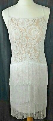 New Size 16 Nude Dress Lace Tassel Fringe 1920s 1940s Flapper Gatsby Party Prom