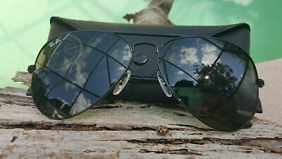0311a3fc69e409 Ray Ban 3025 Aviator L2823 Black Frame   Green G15 Glass Size 58 and Size 62