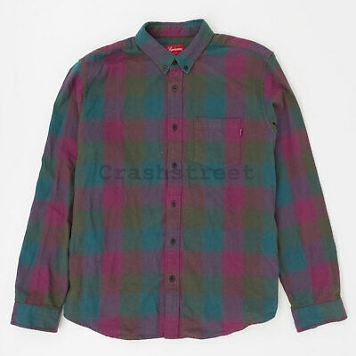 15838d0c Supreme Shadow Plaid Flannel Shirt tee box hat logo camp cap Purple (used)