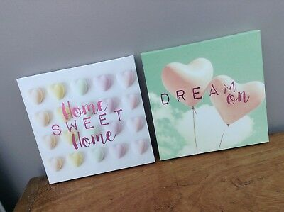 NEW Set of 2 Metallic Blush Pink Love Heart Home Sweet Canvas Wall Art Pictures