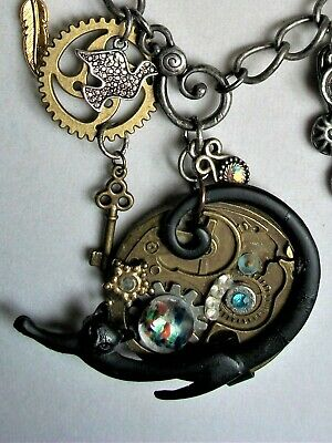 """""""Season of the Cat"""" BoHo, Steam Punk,Goth Necklace - One of a Kind -Handmade 20"""""""