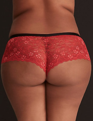 acdc7fa0fbc9 Torrid Sexy Red All Lace Cheeky Panty With Black Waist Band Plus Size 4 26  4X