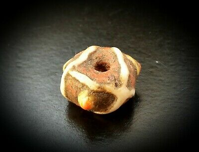 100 A.d. - 300 A.d Roman Coral Glass Bead With Panels & Raised Stratified Eyes