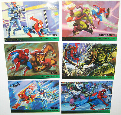Spiderman Ultra Fleer Gold Foil unlikely Allies Set of 6 Cards Marvel Venom