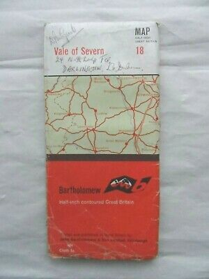 Vintage Bartholomew's Half Inch Cloth Map Sheet 18 Vale of Severn