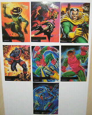 Spiderman Ultra Fleer Gold Foil Signature Series Legacy Set of 7 Cards Marvel