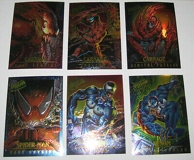 Spiderman Ultra Fleer Masterpieces Set of 13 Cards Marvel Venom Carnage Limited