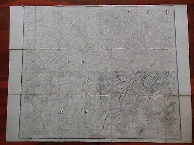 Ordnance Survey Map; c1831 - Worcester, Droitwich, Stratford, Solihull Midlands