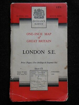 "VINTAGE ORDNANCE SURVEY 1"" MAP - London S E - 1961 - Sheet 171 - Paper, O/S Map"