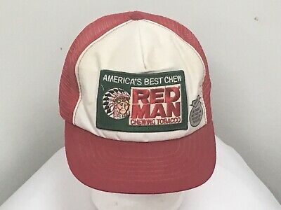 beaf52c9e VINTAGE RED MAN Chewing Tobacco SnapBack Trucker Hat Cap - Made In USA MESH