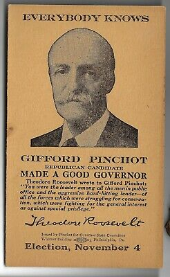 1930 Pinchot PA Gov Re-Election Folding Card Theodore Roosevelt Quote on Front