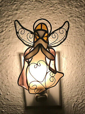9009-33 Stained Glass Gold Angel Night Light New