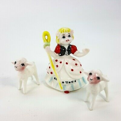 Vintage Porcelain Miniature Nursery Rhyme Little Bo Peep & her Sheep 3pc Japan