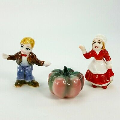 Vintage Porcelain Miniature Nursery Rhyme Peter Pumpkin Eater Wife Feed Her 3pc