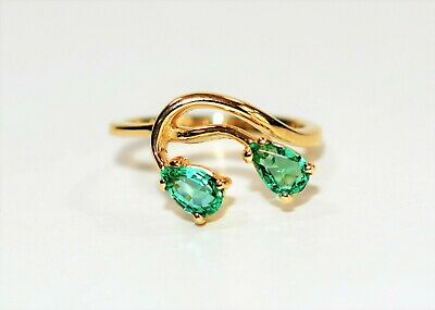 Perfect Pear .70tcw Untreated Colombian Emerald 14kt Yellow Gold Ring