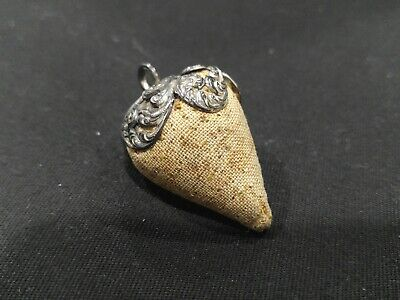 ANTIQUE UNGER BROTHER CHATELAINE STERLING SILVER STRAWBERRY  PIN CUSHION (r343)